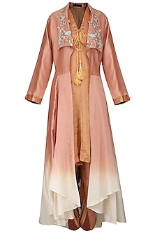 Onion Pink Embroidered Tunic with Dhoti Pants and Jacket by Inchee tape