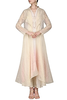 Off White Embroidered Kurta with Palazzo Pants and Jacket by Inchee tape