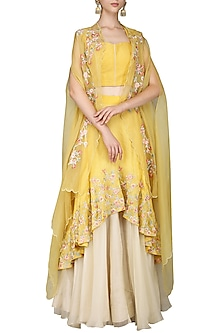 Yellow Double Layered Embroidered Lehenga Set with Cape by Inchee tape