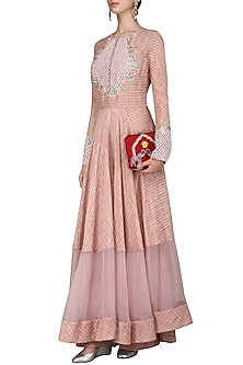 Mauve Embroidered Anarkali Gown by Inchee tape