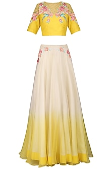 Yellow and Off White Embroidered Lehenga Set by Inchee tape