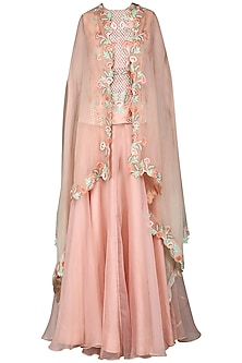 Pink Embroidered Lehenga with Cape