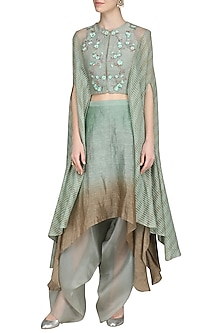 Spruce Green Embroidered Crop Top with Dhoti Skirt by Inchee tape