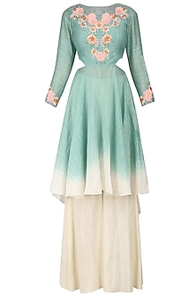 Blue and Off White Floral Embroidered Kurta and Palazzo Set by Inchee Tape