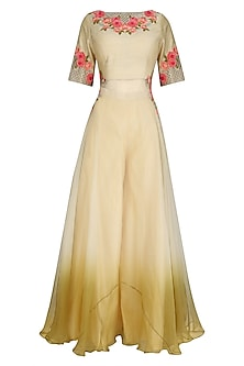 Cream Ombre Flared Floral Embroidered Kurta and Palazzo Set by Inchee Tape
