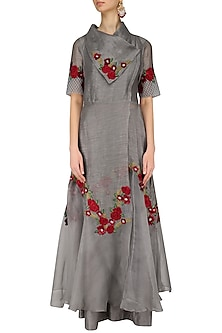 Grey Floral Embroidered Flared Kurta and Palazzo Set by Inchee Tape