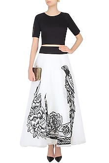 White Iron Fairies Skirt and Short Sleeves Crop Top Set by Eshaani Jayaswal