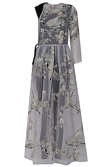 Black Jumpsuit With White Oriental Bird Print Overlay Dress by Eshaani Jayaswal