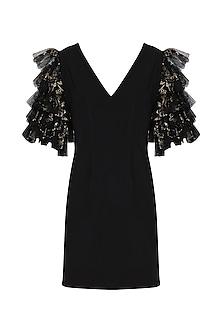 Black Printed Ruffle Dress by Eshaani Jayaswal