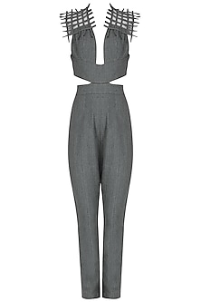 Grey Woven Jumpsuit by Eshaani Jayaswal