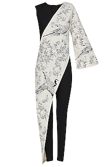 Black and White Oriental Bird Print Embroidered Jumpsuit