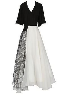 Black and White Asymmetrical Bouffant Gown