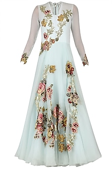 Aqua Applique Work Bouffant Gown