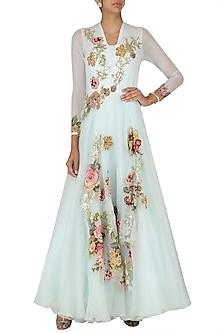 Aqua Applique Work Bouffant Gown by Eshaani Jayaswal