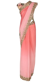 Pink Ombre Applique Work Saree with Blouse