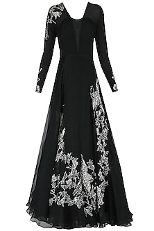 Black Embroidered Oriental Bird Print Gown by Eshaani Jayaswal