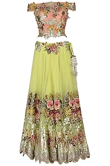 Lime Green and Salmon Pink Embroidered Lehenga Set