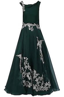 Bottle Green Oriental Bird Print Gown