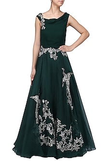 Bottle Green Oriental Bird Print Gown by Eshaani Jayaswal