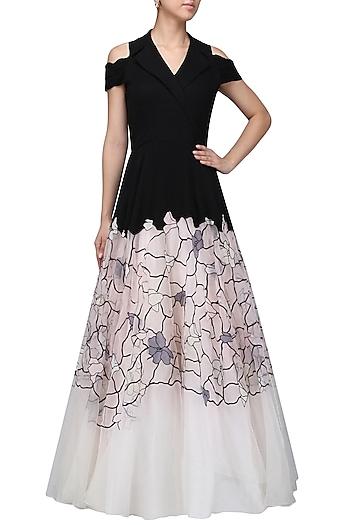 Pink Black Glasshouse Lapel Gown