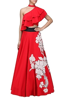 Red Betty Draper Bouffant Skirt and Ruffle Crop Top by Eshaani Jayaswal