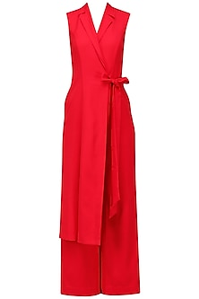 Red Draped Jumpsuit by Eshaani Jayaswal