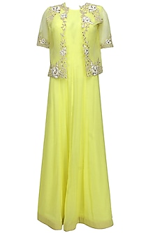 Yellow floral pearls and sequins embroidered cape anarkali set by Eshaani Jayaswal