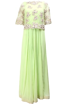 English mint floral pearls and sequins embroidered cape anarkali set