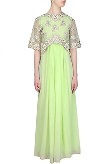 English mint floral pearls and sequins embroidered cape anarkali set by Eshaani Jayaswal