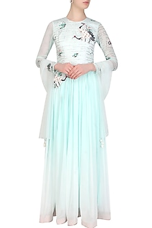 Aqua oriental thread and shells embroidered bird motifs maxi dress by Eshaani Jayaswal