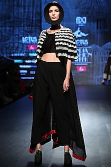 Black Jacket With Pants & Inner by Ekru by Ekta and Ruchira