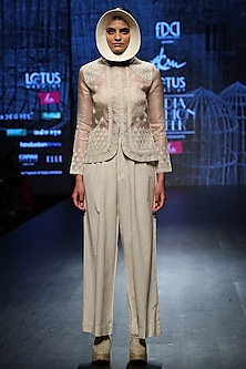 Off White Jacket With Pants & Inner by Ekru by Ekta and Ruchira