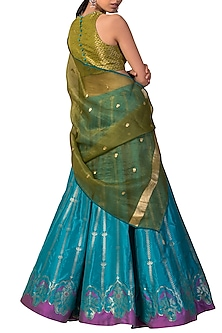 Blue & Green Handwoven Printed Lehenga Set by Ekaya