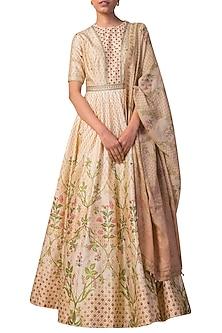 Ivory & Peach Digital Printed Handwoven Anarkali Set by Ekaya