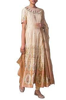 Ivory & Peach Handwoven Printed Anarkali Set by Ekaya