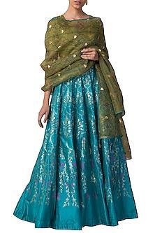 Blue & Green Printed Handwoven Lehenga Set by Ekaya