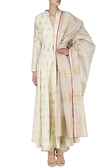 Off White Handwoven Front Open Kurta and Pants Set by Ekaya
