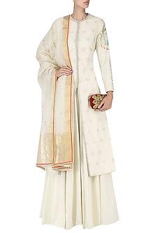 Off White Handwoven Front Open Kurta and Skirt Set by Ekaya