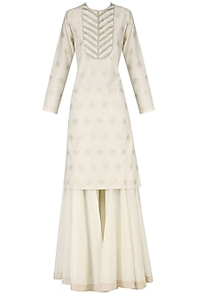 Off White Handwoven Embroidered Kurta and Palazzo Set