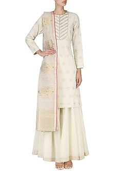 Off White Handwoven Embroidered Kurta and Palazzo Set by Ekaya