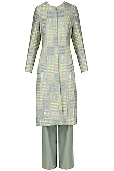 Sea Green Handwoven Front Open Kurta with Pants