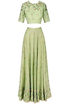 Sea Green Handwoven Blouse and Printed Skirt Set