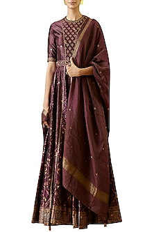 Wine Digital Printed Anarkali Gown
