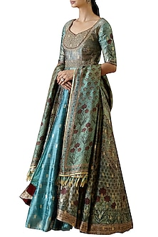 Turquoise Digital Printed Anarkali