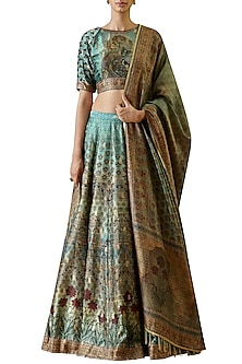 Turquoise Hand Embroidered Lehenga Set by Ekaya