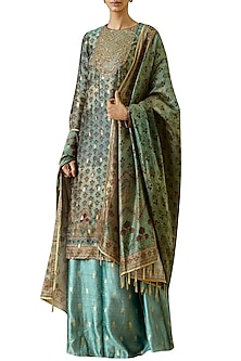 Turquoise Printed Kurta Set by Ekaya