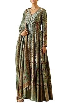 Turquoise Embroidered Kurta Set by Ekaya