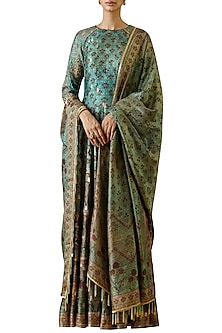 Turquoise Hand Embroidered Anarkali Gown