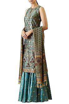 Turquoise Printed and Embroidered Kurta Set