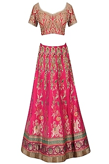 Pink Banarasi Handwoven Embroidered Lehenga Set